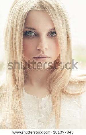 portrait of a beautiful blonde closeup