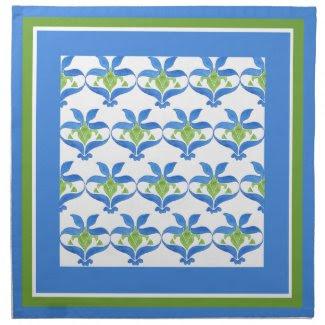 Blue, Green White Art Nouveau Pattern Napkins