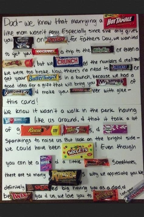 Candy gram for dad!   Candy Gram   Pinterest   Dads