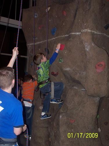 Jacob climbing the wall