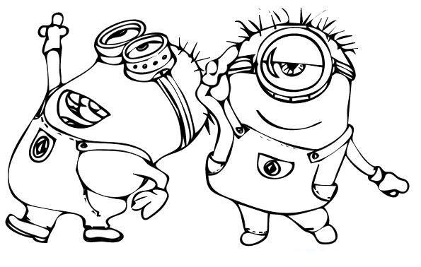 Dibujo Para Colorear Minions Bailando Alocadamente