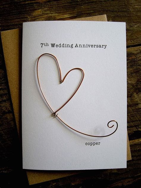 7th Wedding Anniversary Designer Keepsake Card COPPER Wire