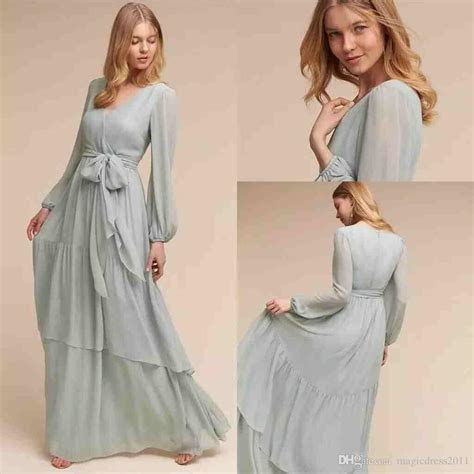 2019 Modest Chiffon Bridesmaid Dresses With Long Sleeves