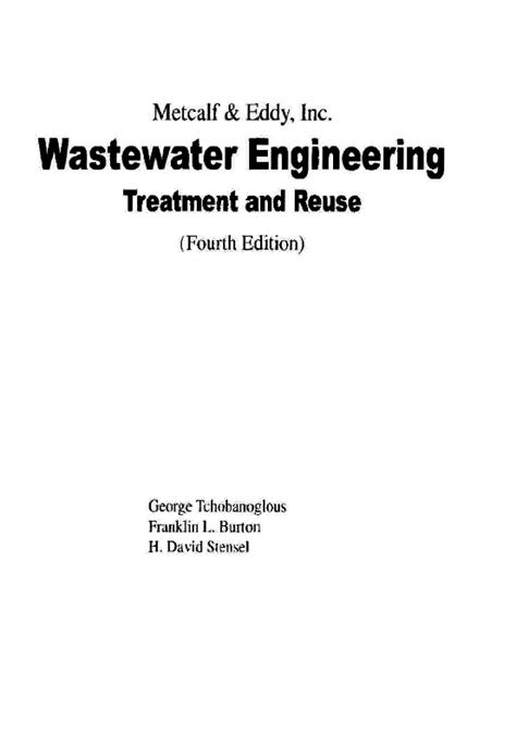 (PDF) Wastewater Engineering Treatment and Reuse (Fourth