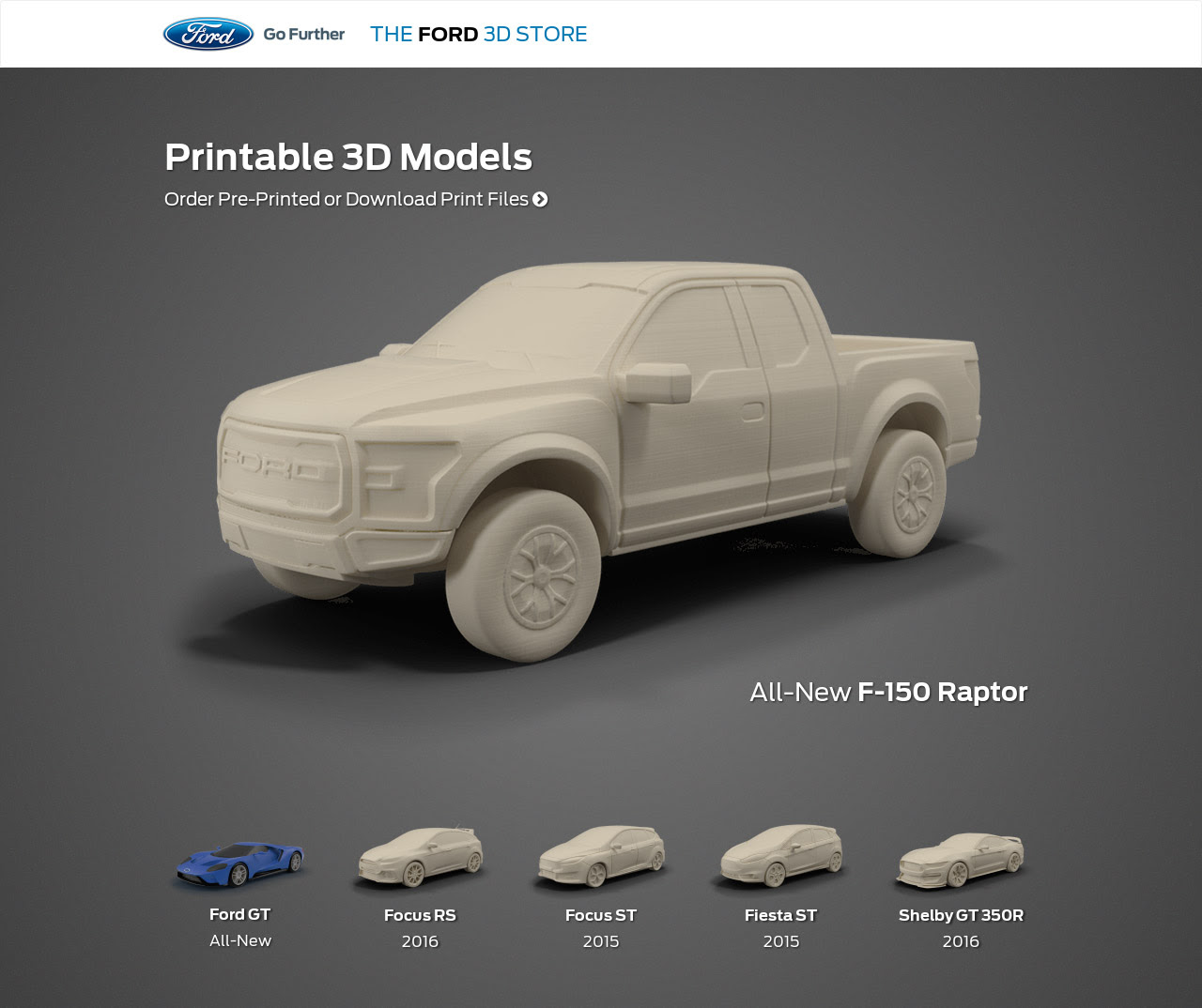Ford Releases Four Printable 3D Vehicle Models For Download