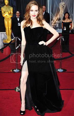 Angelina Jolie Oscars 2012 Leggy Fashion Style