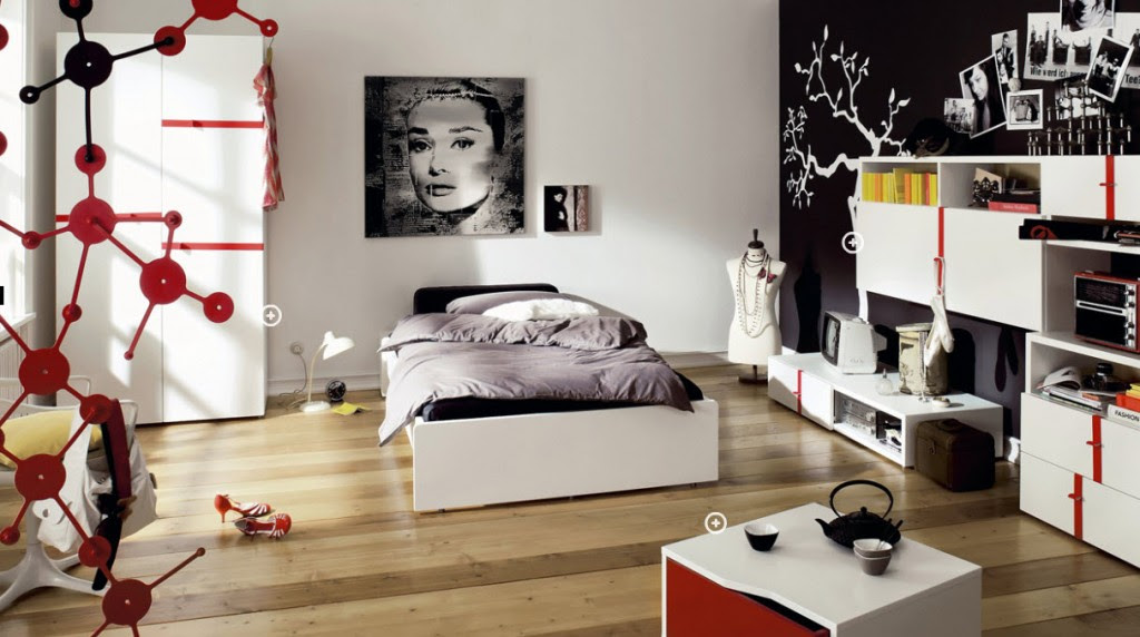 Red And White Teen Room Design Ideas - Oriental Home Accents