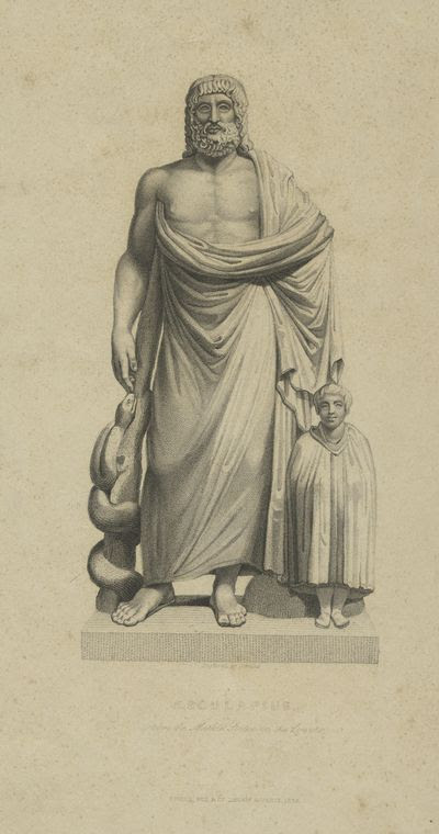 Aesculapius, from the marble statue in the Louvre.