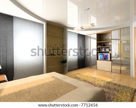 stock photo : modern bedroom interior design (computer
