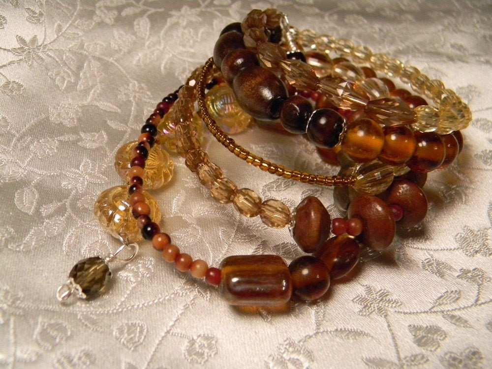 Eclectic Wooden and Glass Beaded Wrap Bracelet