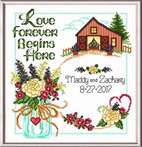 Country Wedding Cross Stitch Pattern wedding