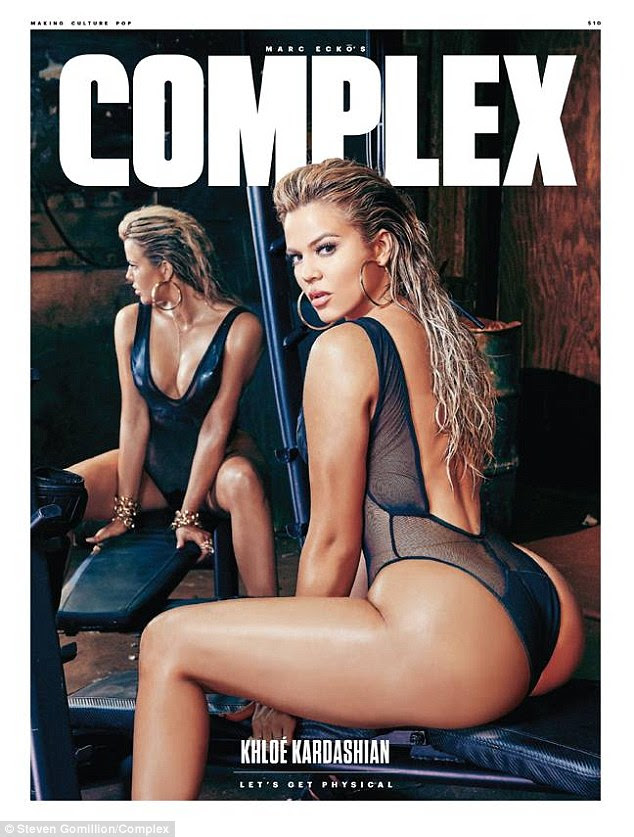 'I'm seriously obsessed with my @ComplexMag shoot!'Khloé Kardashian showcased her curvaceous derrière and ample cleavage in a sheer plunging leotard for a sporty spread shot by Steven Gomillion