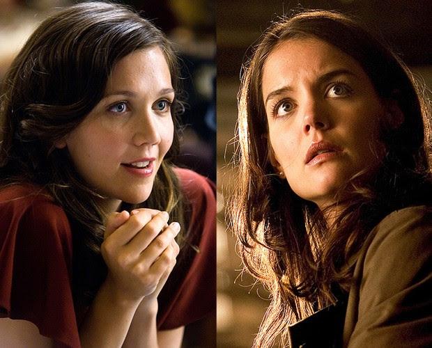 KATIE HOLMES E MAGGIE GYLLENHAAL interpretaram a mesma personagem, Rachel, em dois filmes diferentes do Cavaleiro das Trevas com o mesmo elenco (Foto: Reprodução)