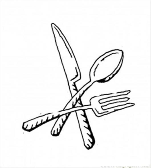 Utensilios Cocina Dibujo De Cuchillo Cuchara Y Tenedor Para Pintar Y