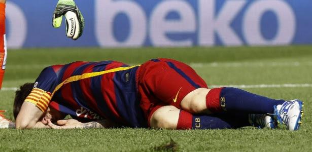 Messi se machucou na partida contra o Las Palmas, pelo Campeonato Espanhol