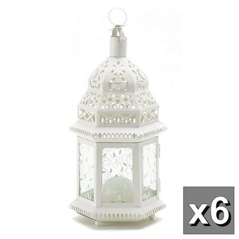 6 WHITE MOROCCAN CANDLE LANTERN WEDDING TABLE CENTERPIECES