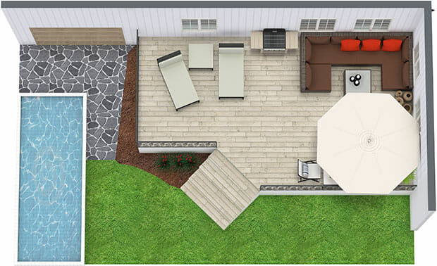 RoomSketcher Home Designer Outdoor Living Backyard Deck Design