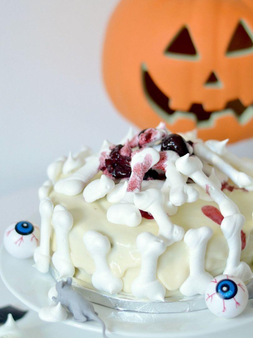 Bloodied Bones Halloween Cake