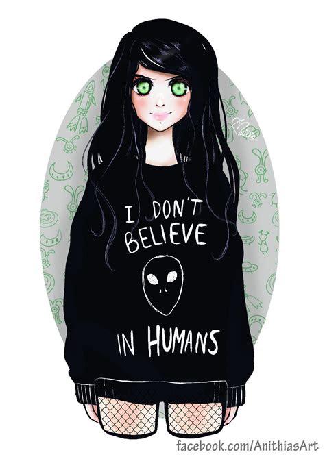 alien girl manga anime dark tumblr space draw