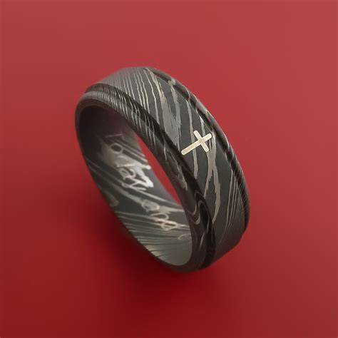 Damascus Steel CHRISTIAN Ring and Sterling Silver Inlay