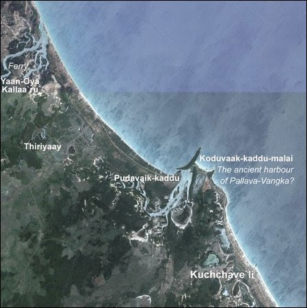 A location map the ferry point of Yaan Oya, Thiriyaay, Pudavaik-kaddu and Kuchchave'li