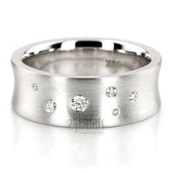 HH 145 14K Gold Scattered Concave Diamond Wedding Band
