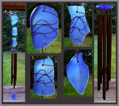 wind chime, cobalt blue glass, stained glass, beach glass, copper