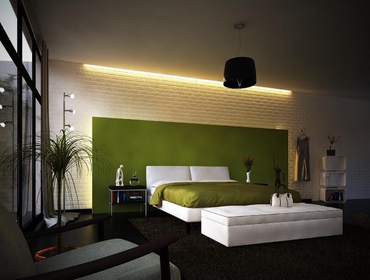 | Green white modern bedroomInterior Design Ideas.