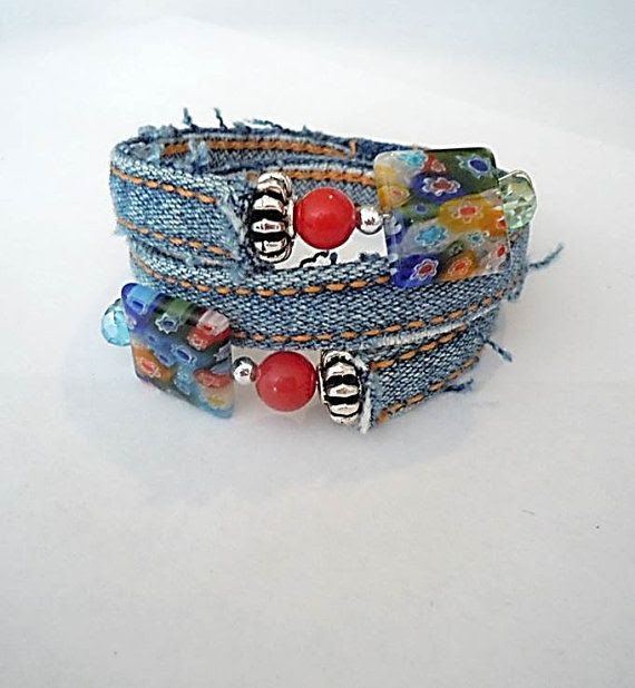 Upcycled Denim Wrap Memory Wire Bracelet with by ExcuseMeDesigns, $7.00