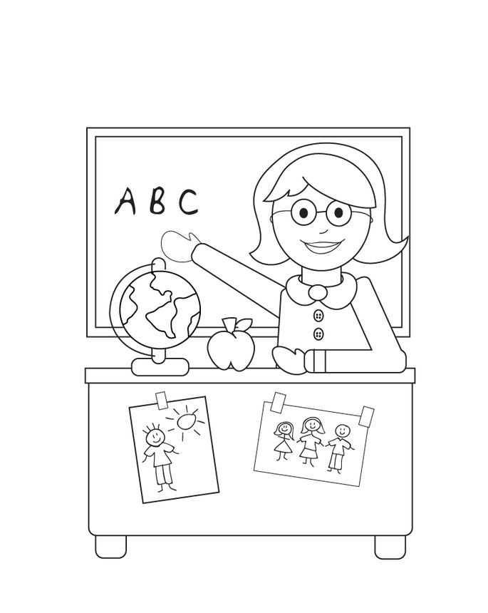 öğretmenler Günü Için öğretmen Boyama Sayfaları Okul öncesi