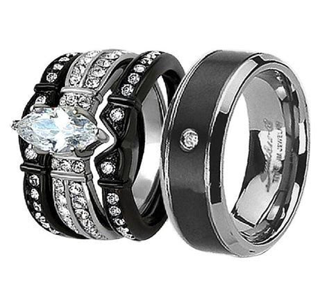 His Hers 4Pcs Black Titanium CZ Matching Band Women Bride