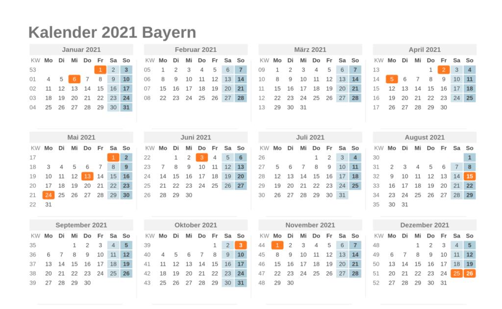 Kalender-2021.Net Bayern - Kalender 2021 Bayern Ferien ...