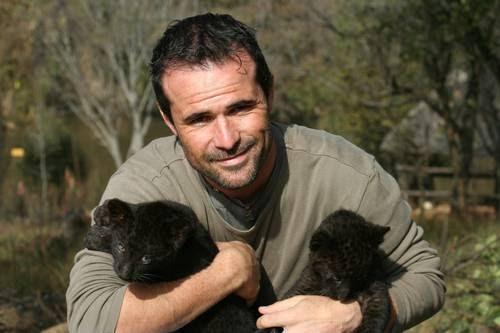 Кевин держит на руках детенышей черной пантеры. Фото