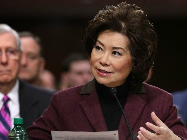 Elaine Chao testifies during her confirmation hearing to be the next U.S. secretary of transportation before the Senate Commerce, Science and Transportation Committee as her husband, Senate Majority Leader Mitch McConnell (R-KY) (L) looks on, in the Dirksen Senate Office Building on Capitol Hill January 11, 2017 in Washington, DC. Chao, who has previously served as secretary of the Labor Department, was nominated by President-elect Donald Trump. (Photo by Chip Somodevilla/Getty Images)
