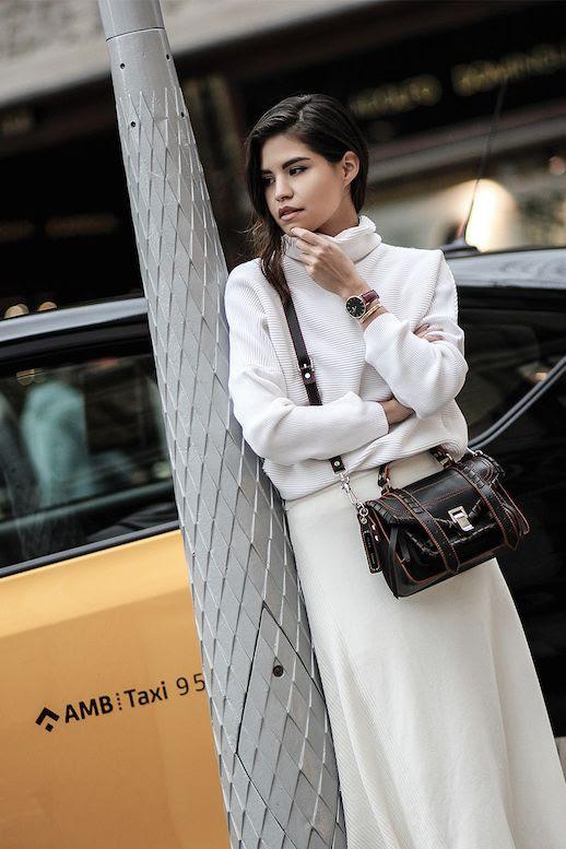 Le Fashion Blog White Knit Turtleneck White Skirt PS1 Handbag Via Fake Leather