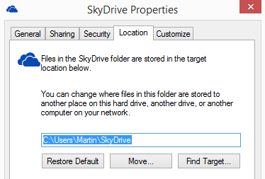 move skydrive location