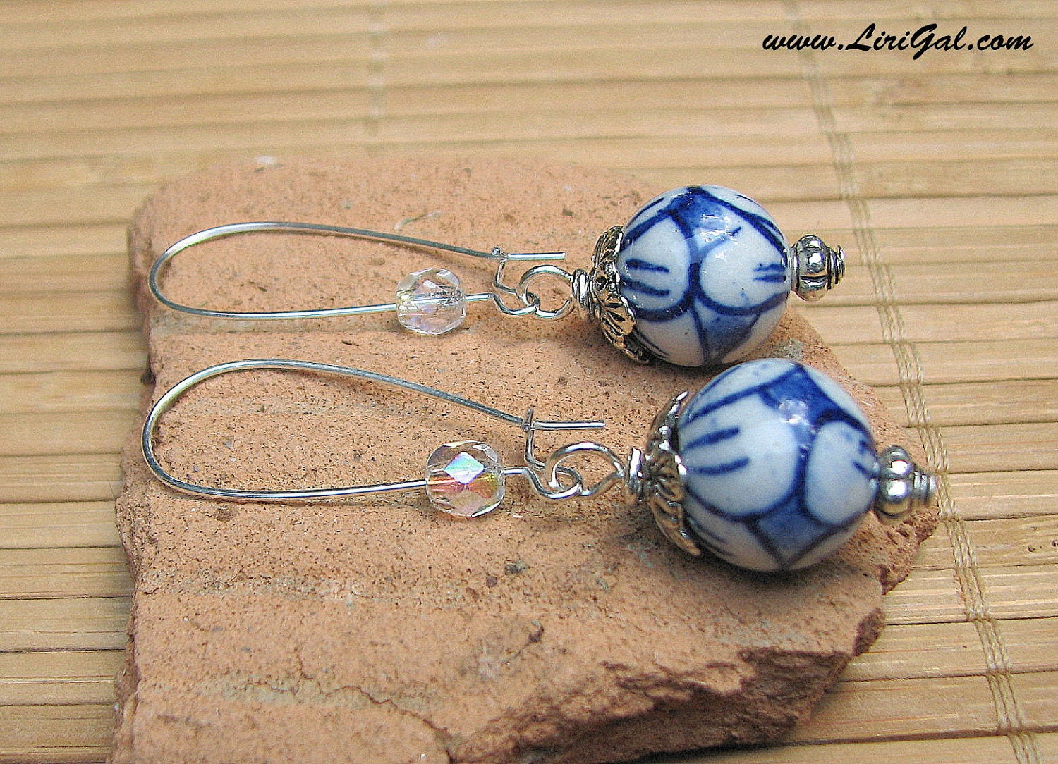 Chinese Porcelain Vintage Blue Long Earrings
