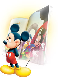 Mickey Mouse stands in front of a Mickey & Friends digital book
