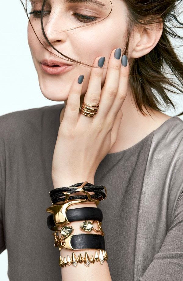 Le Fashion Blog -- Matte Grey Nails, Stacked Black And Gold Alexis Bittar Jewelry -- Model Kel Markey -- Via Nordstrom -- photo Le-Fashion-Blog-Matte-Nails-Stacked-Black-Gold-Alexis-Bittar-Jewelry-Model-Kel-Markey-Via-Nordstrom.jpg
