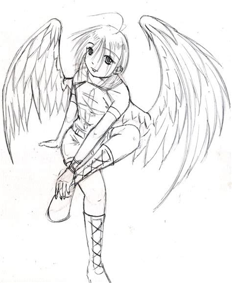 angel drawing step  step  getdrawingscom