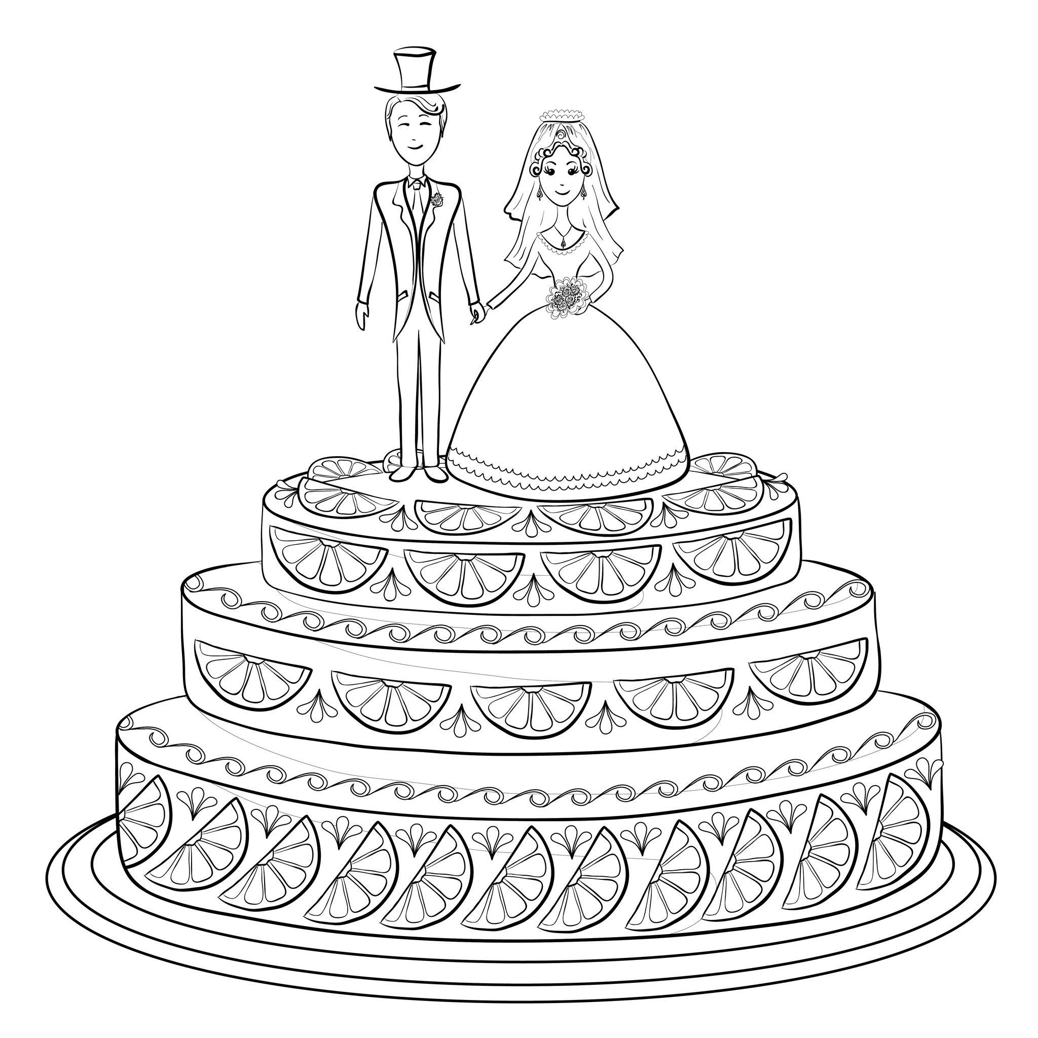 Gateau de mariage  colorier Coloriage adulte