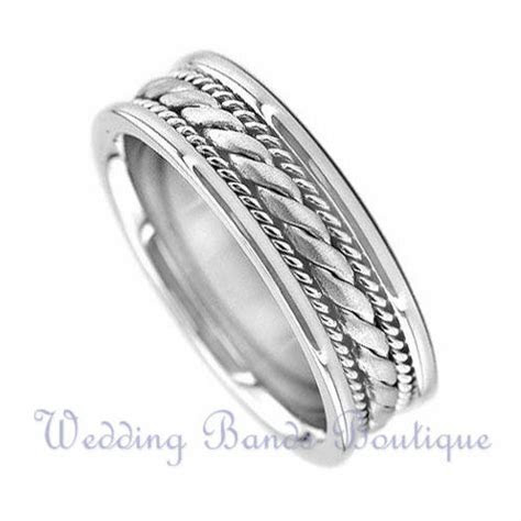 14K WHITE GOLD BRAIDED MENS WEDDING BAND TWISTED ROPE MANS