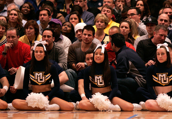 Nick Lachey Singer Nick Lachey (C) watches the game between the Louisville Cardinals and Marquette Golden Eagles during the quarterfinals of the 2011 Big East Men's Basketball Tournament presented by American Eagle Outfitters  at Madison Square Garden on March 10, 2011 in New York City.