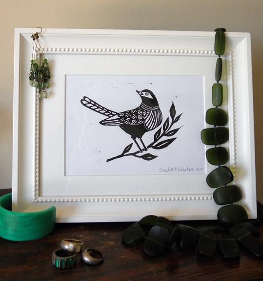 Linocut of bird