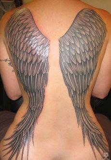 Wing Tattoos At Full Back Angel Or Devil Tattoo Artist Ideas