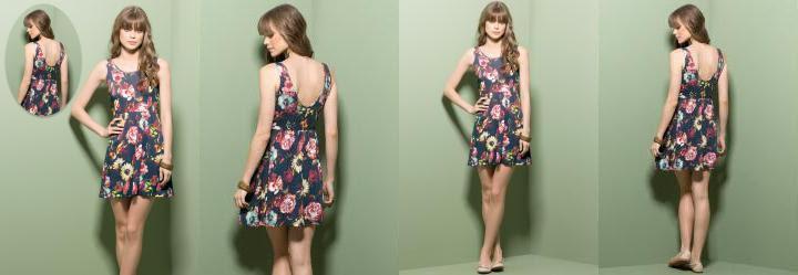 Vestido Evasê Decote Costas Floral