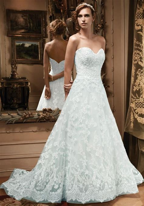 Lace A line with blue underlay and princess sweetheart