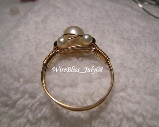 Sparkly Pearl Ring & Mackintosh Wire Wrap Ring