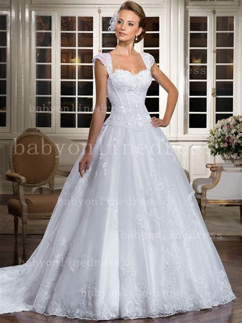 Wholesale Lace Gowns Bridal White Sweetheart Cap Sleeve