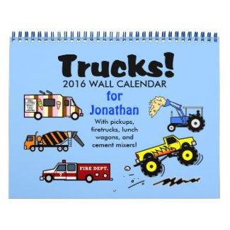 2016 Cartoon Trucks Calendar Personalized Name